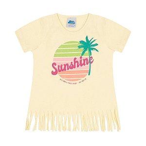 Blusa meia malha cor amarelo claro com glitter estampa de verão