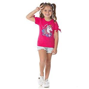Blusa em cotton cor pink com glitter na estampa de unicórnio