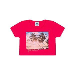 Cropped em meia malha cor pink com glitter na estampa de verão