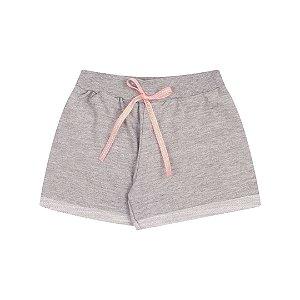 Shorts de moletinho flamê cor mescla com cordão