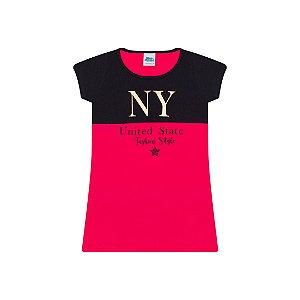 Vestido em meia malha cor preto e pink com foil na estampa