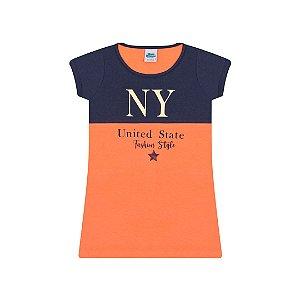Vestido meia malha cor marinho e tangerine com foil na estampa