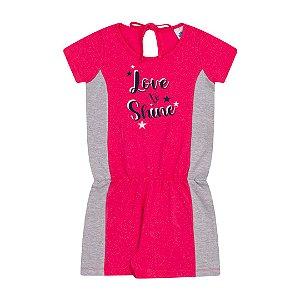Macacão em cotton cor pink com brilho e estampa com glitter