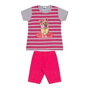 Conjunto cotton cor mescla e pink com gliter  na estampa