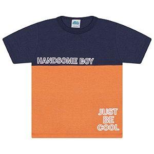 Camisa em meia malha cor marinho e laranja queimado