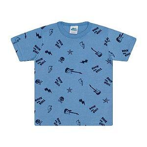 Camisa em meia malha cor azul pavão estampa Rock and Roll
