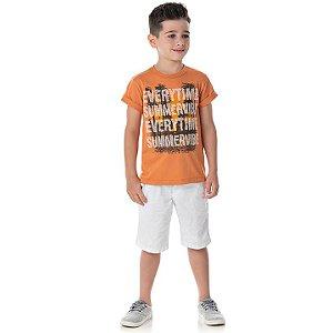 Camisa em meia malha cor laranja queimado com puff