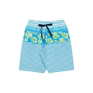 Bermuda tactel cor azul piscina cordão estampa folhas e listras
