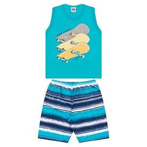Conjunto em meia malha cor azul piscina  e tactel estampado