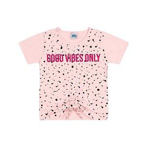Blusa em cotton cor rosa bebê com cordão decorativo