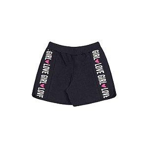 Shorts de moletinho cor preto com estampa