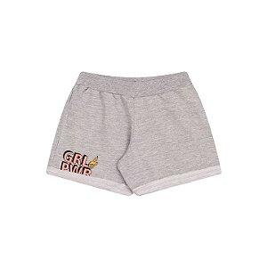 Shorts de moletinho flamê cor mescla com estampa