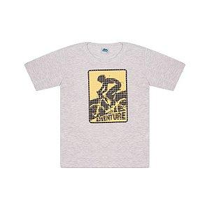 Camisa em meia malha cor mescla banana com puff na estampa