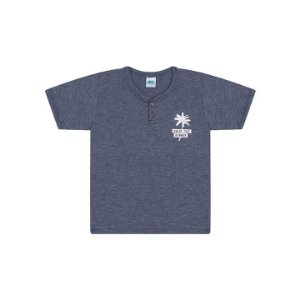 Camisa em meia malha moulinê cor marinho