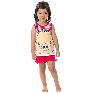 Pijama feminino em meia malha que brilha no escuro cor pink