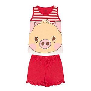 Pijama feminino em meia malha que brilha no escuro cor vermelho