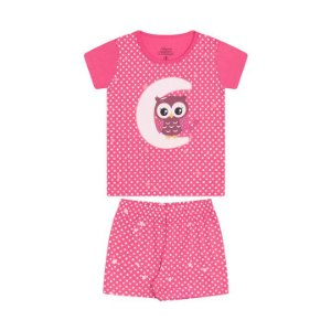 Pijama feminino em meia malha que brilha no escuro cor chiclete