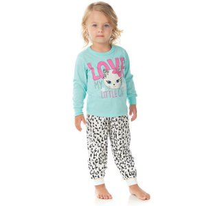 Pijama feminino manga longa brilha escuro cor verde água e cru