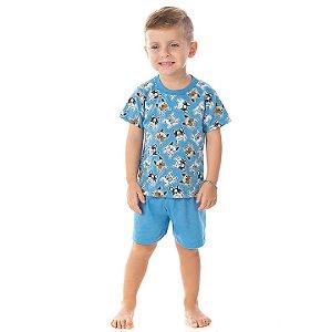 Pijama masculino meia malha que brilha no escuro cor azul pavão