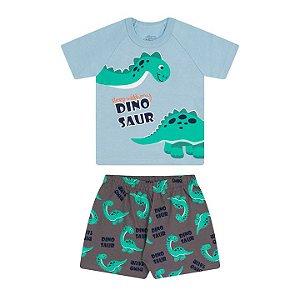 Pijama masculino meia malha brilha escuro azul bebê cinza escuro