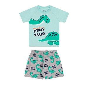 Pijama masculino meia malha brilha escuro cor verde água e mescla
