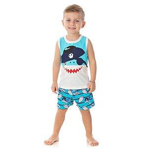 Pijama masculino meia malha brilha escuro cor cru e azul piscina