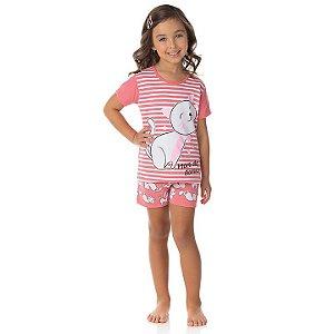 Pijama feminino meia malha que brilha no escuro cor rosa alegre