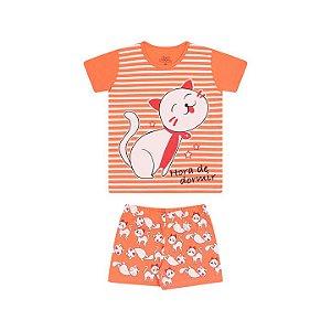Pijama feminino em meia malha que brilha no escuro cor tangerine