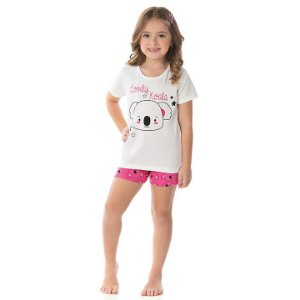 Pijama feminino meia malha que brilha escuro cor cru e chiclete