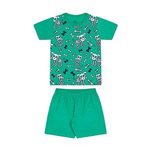 Pijama masculino meia malha brilha no escuro cor verde marine
