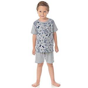 Pijama masculino em meia malha que brilha no escuro cor mescla