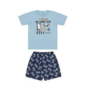 Pijama masculino meia malha brilha escuro cor azul bebê e marinho