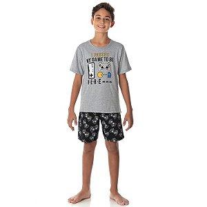 Pijama masculino meia malha brilha no escuro cor mescla e preto