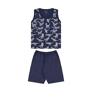 Pijama masculino em meia malha que brilha no escuro cor marinho