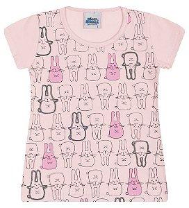 Blusa Estampada na cor rosa, com manguinhas e gola redonda