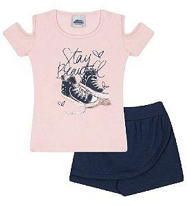 Conjunto Shorts-saia e Blusa nas cores rosa bebê e azul marinho