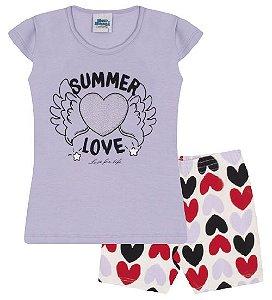 Conjunto Bermuda e Blusa nas cores lilás e coração preto
