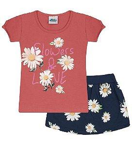Conjunto Shorts-saia e Blusa nas cores amora e azul marinho