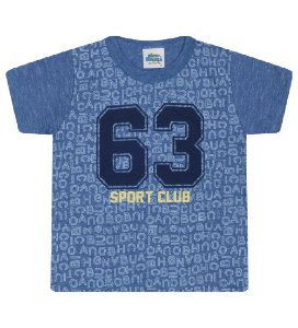 Camiseta Estampada para meninos na cor azul clássico