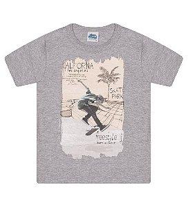 Camiseta Estampada para meninos na cor cinza mescla