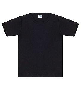 Camiseta básica cor preta, com manga e gola redonda