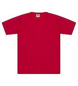 Camiseta básica cor vermelha, com manga e gola redonda