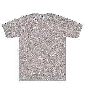 Camiseta básica cor cinza mescla, com manga e gola redonda