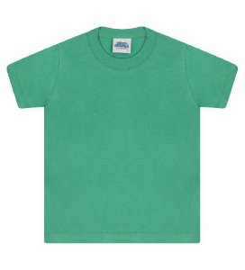 Camiseta básica cor verde marine, com manga e gola redonda