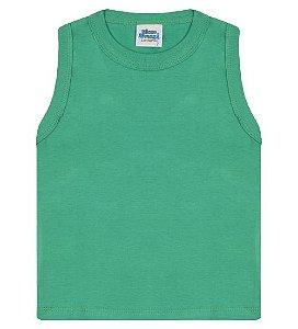 Regata básica para meninos cor verde marine e gola redonda