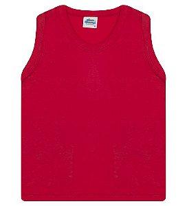 Regata básica para meninos cor vermelha e gola redonda