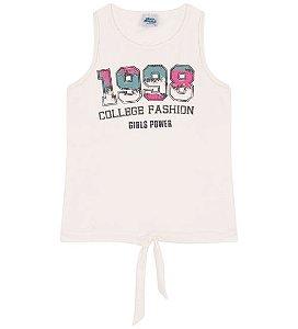 Blusa Estampada cor algodão cru, sem mangas, barra com amarração