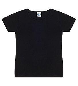 Blusa básica cor preta com manga e gola redonda
