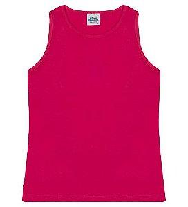 Regata básica para meninas cor pink e gola redonda