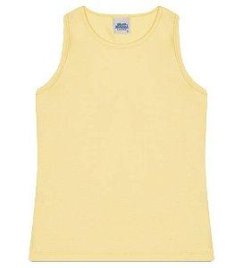 Regata básica para meninas cor amarela e gola redonda